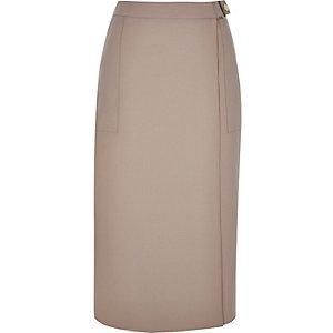 Pink woven wrap midi skirt
