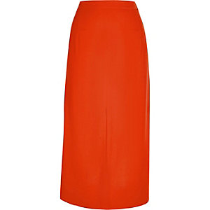 Red split front midi skirt