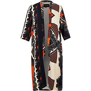 RI Plus orange printed kimono duster jacket