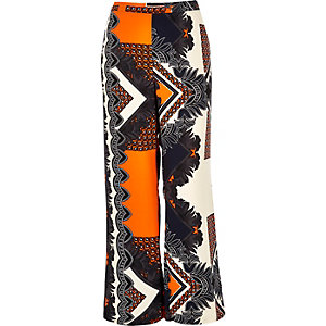 RI Plus orange print palazzo pants