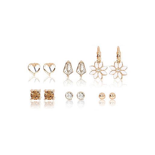 Gold tone daisy earrings multipack
