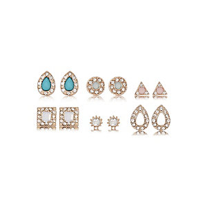 Gold tone gem stud earrings multipack