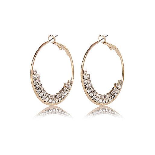 Gold tone embellished hoop earrings