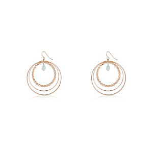 Gold tone embellished hoop earrings