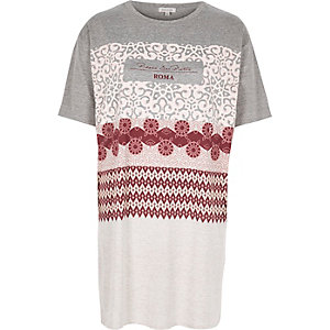 Girls grey printed oversized t-shirt
