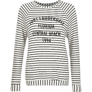 White stripe Florida print sweatshirt