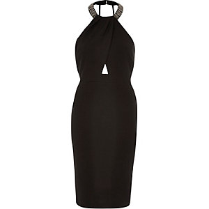 Black neck trim bodycon dress