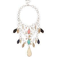 Pink leaf bib necklace
