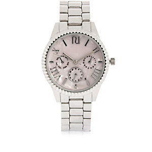 Silver tone coin edge watch