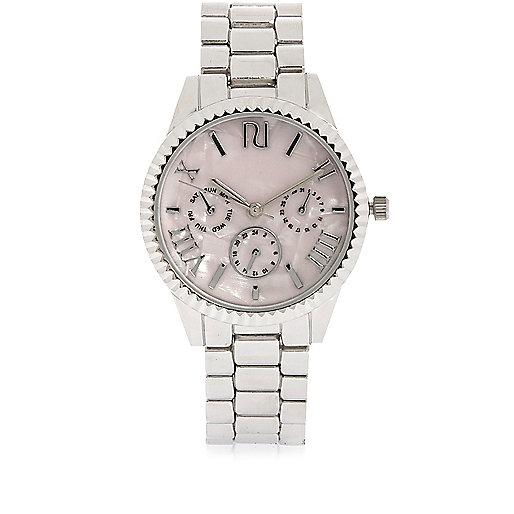 Silver tone coin edge watch