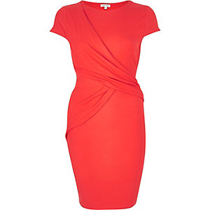 Coral ruched wrap bodycon dress