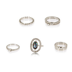 Silver tone rings pack
