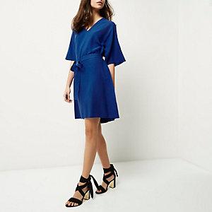 Bright blue kimono sleeve dress