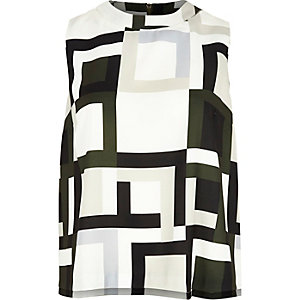 Khaki geometric print sleeveless top