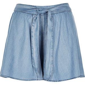 Light blue wide leg shorts