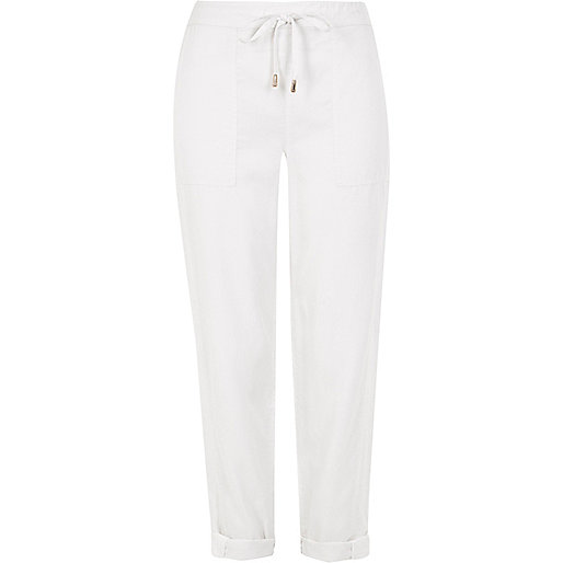 White drawstring trousers