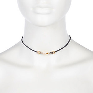 Grey faux suede choker necklace
