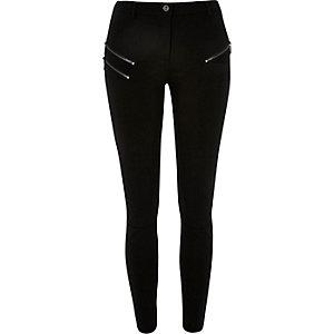 Black zip superskinny trousers