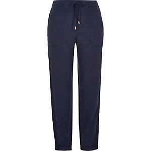 Dark blue drawstring trousers