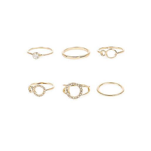 Gold tone diamanté rings pack
