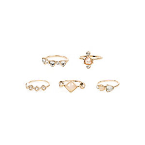 Gold tone opal rings pack