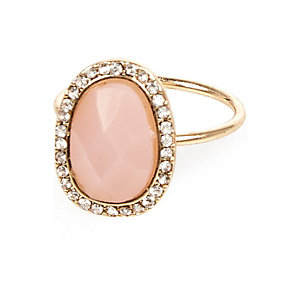 Pink opal diamanté ring