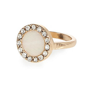Gold tone encrusted gem ring
