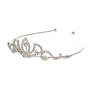 Silver tone diamanté encrusted tiara