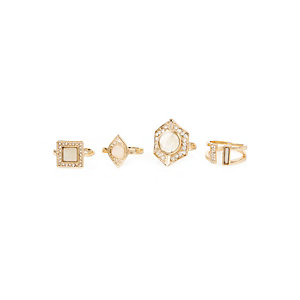 Gold tone gem rings pack