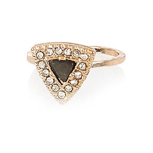 Gold tone triangle embellished ring