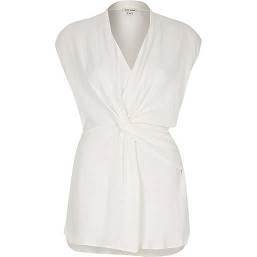 Cream knot front tunic