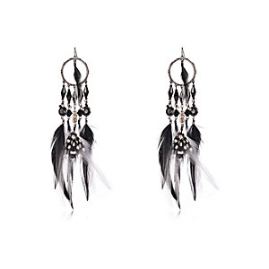 Black feather dangle earrings