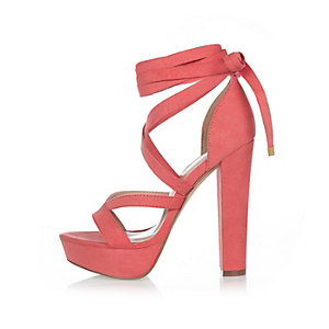 Orange tie-up platform heels