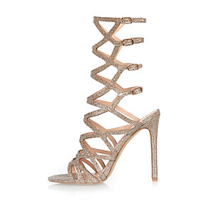 Metallic gladiator heel sandals