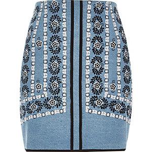 Blue embroidered denim mini skirt
