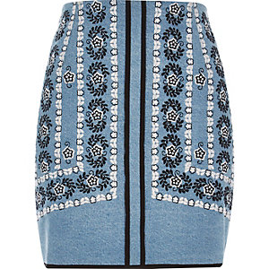 Blue embroidered denim mini skirt