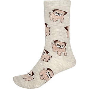 Grey fluffy dog socks