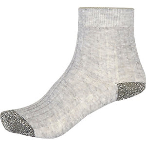 Grey metallic ankle socks