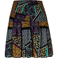 Purple print chiffon mini skirt