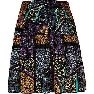 Purple print chiffon mini skirt