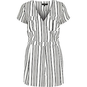 White stripe romper