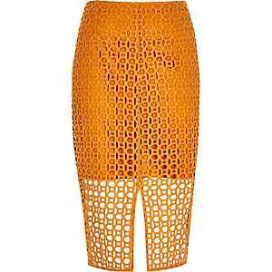 Orange circle lace pencil skirt