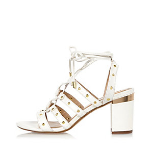 White tiered caged heel sandals