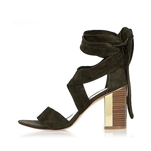 Khaki tie-up suede block heel sandals