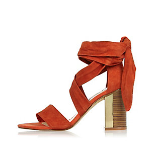 Dark orange tie-up block heel sandals