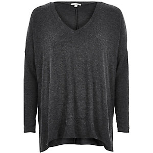 Dark grey split side top