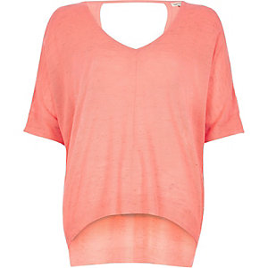 Coral knitted V-neck top