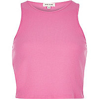 Pink '90s ribbed crop top