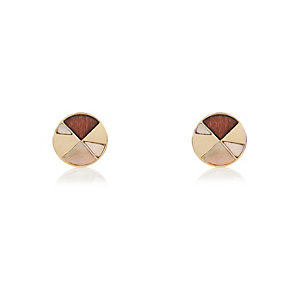 Brown and gold tone stud earrings