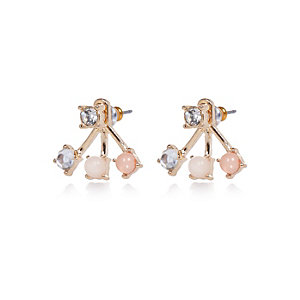 Gold tone opal stud earrings